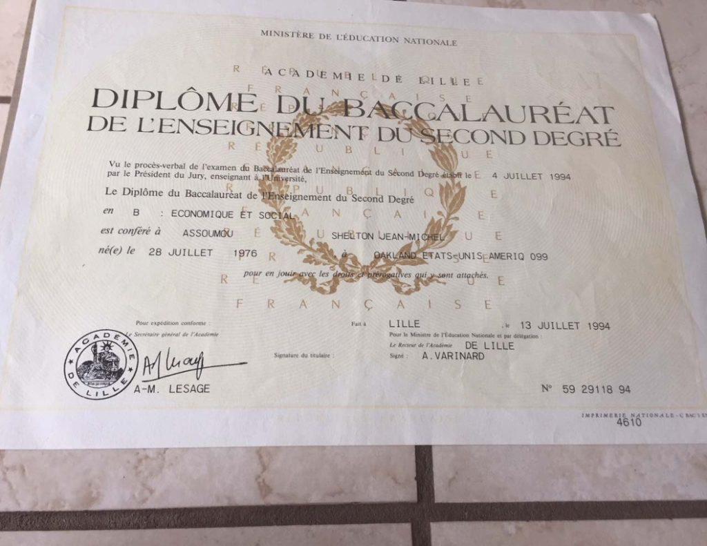 Schelton Assoumou French Baccalaureat