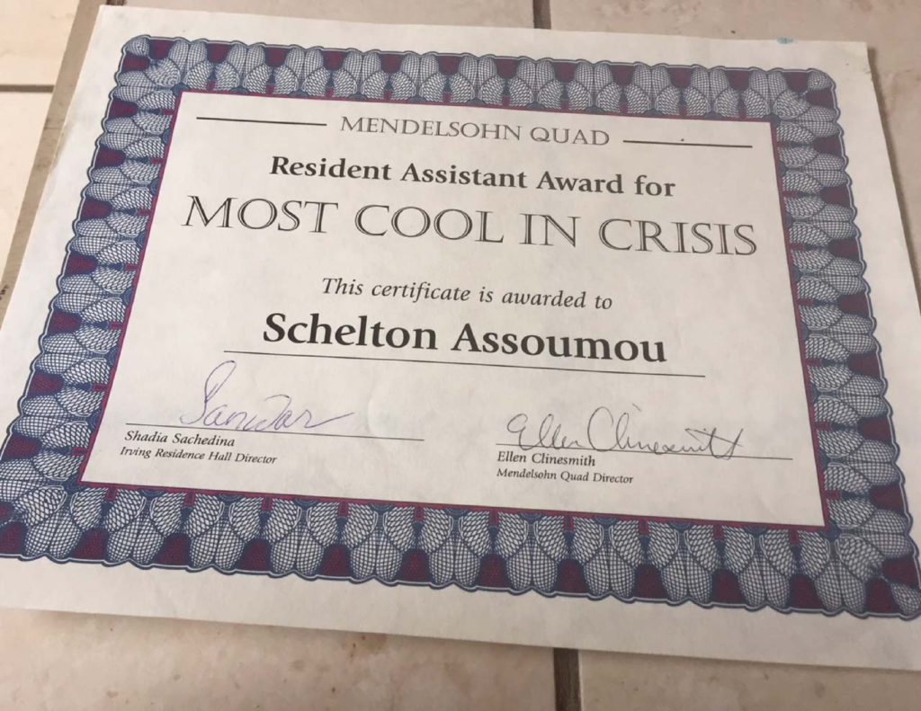 Schelton Assoumou most cool in crisis for an Resident Assistant from Stony Brook