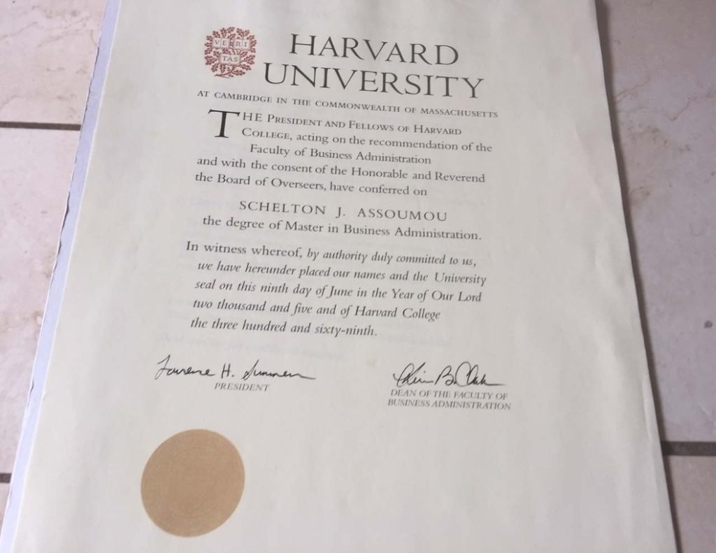 Schelton Assoumou Harvard MBA Degree 2005