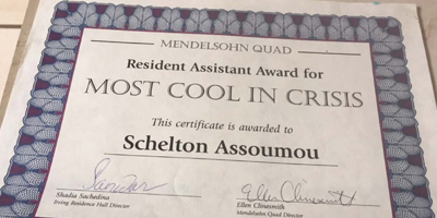 Stony Brook Certificate Most Cool in Crisis