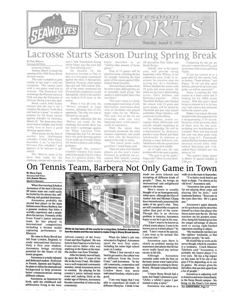 On Tennis Team, Barbera Not Only Game in Town